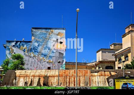 Mural by famous street artist Blu at Via del Porto Fluviale, Ostiense, Rome, Italy - Stock Photo