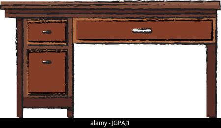 Great Wooden Desk Cupboard; Office Desk Wooden Drawer Handle Furniture Vector  Illustration   Stock Photo