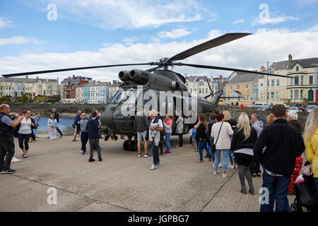 Royal Air Force XW209 westland puma helicopter on display to the public armed forces day bangor northern ireland - Stock Photo