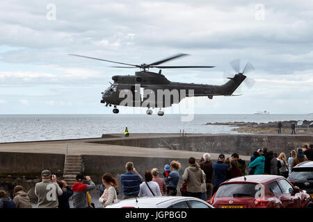 Royal Air Force XW209 westland puma helicopter readying for take off armed forces day bangor northern ireland - Stock Photo
