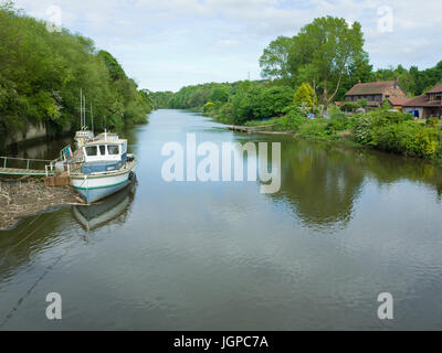Wooden pleasure Leisure Boat Moored On The River Wear at Cox Green Washington Uk - Stock Photo