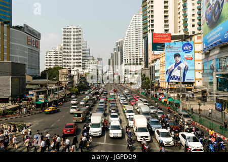 Bangkok, Thailand - February 13, 2015: Traffic congestion at the intersection of Asoke and Sukhumvit Rd. in downtown - Stock Photo