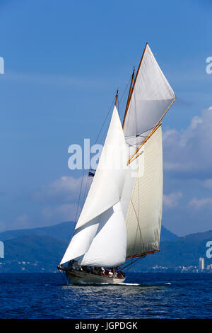 Luxury sailing ship schooner yacht cruising in Phuket Island, Phuket, Thailand during the Asian Superyacht Rendezvous. - Stock Photo