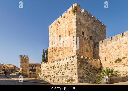 The Citadel ( Tower of David ) near Jaffa Gate, in the Old City of Jerusalem, Israel. - Stock Photo