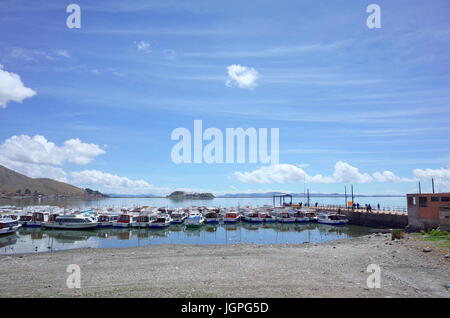 Puno harbour on the shore of Lake Titicaca - Stock Photo