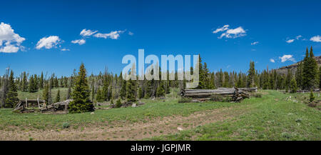 Remains of log cabins that formed a town and saw mill in the Rocky Mountains. - Stock Photo
