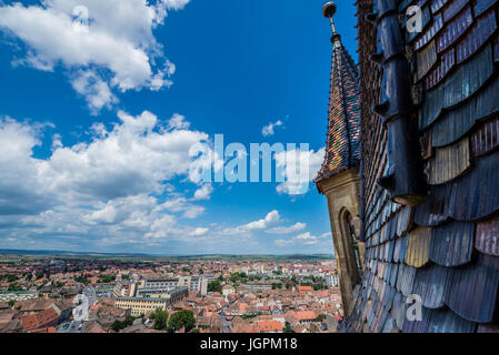 View from Lutheran Cathedral of Saint Mary in Historic Center of Sibiu city of Transylvania region, Romania - Stock Photo