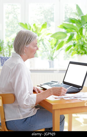 Senior woman at home with a calculator and lots of receipts in front of her laptop making her annual tax declaration, - Stock Photo