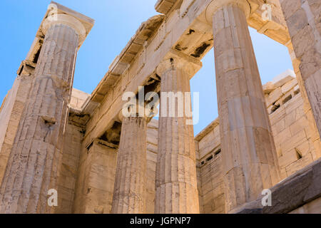 The Propylaea, the grand entrance to the Acropolis, Athens, Greece - Stock Photo