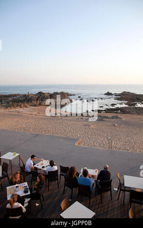Cafe on Foz Promenade along Av do Brasil in Porto - Portugal - Stock Photo