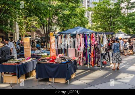 Antique market in front of the Tokyo International Forum, Tokyo, Japan - Stock Photo