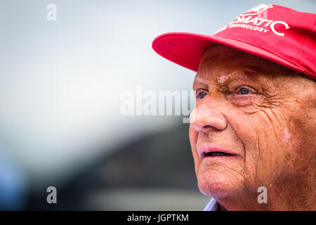 Spielberg, Austria. 09th July, 2017. Former F1 driver and three times world champion Niki Lauda of Austria is seen - Stock Photo