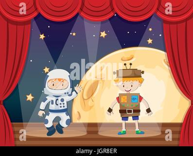 Astronaut and robot on stage illustration - Stock Photo