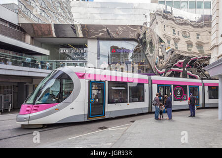 Urbos 3 Midland Metro tram in Birmingham city centre, Birmingham, England, UK - Stock Photo