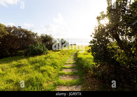 Stepping stones lead through illuminated green grass towards a bright sunstar that shines through the trees on a - Stock Photo