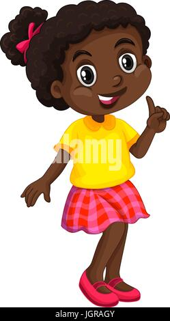 African American girl in yellow shirt illustration - Stock Photo