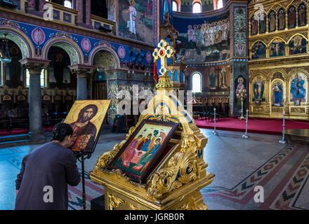 Romanian Orthodox Holy Trinity Cathedral in Historic Center of Sibiu city of Transylvania region, Romania - Stock Photo