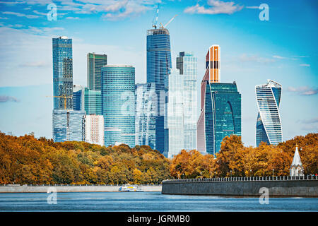 Autumn view of the business city center. - Stock Photo