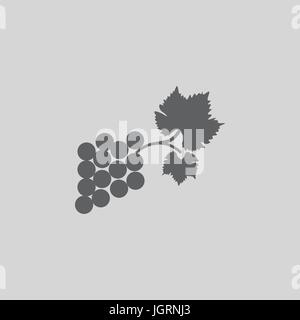 Grape Icon Food Fruits silhouette isolated on grey background - Stock Photo