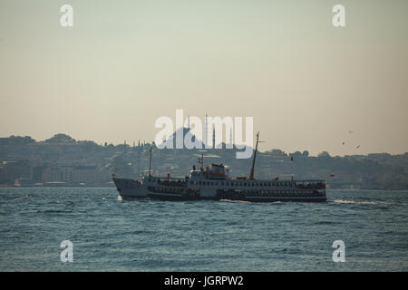 Public transportation system Istanbul; passenger ship connecting asian and european parts of town;  Golden horn - Stock Photo
