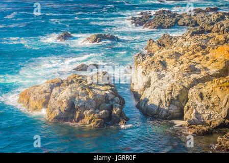 highway 1 beach sunshine daylight carmel bigsur monterrey scenic view - Stock Photo