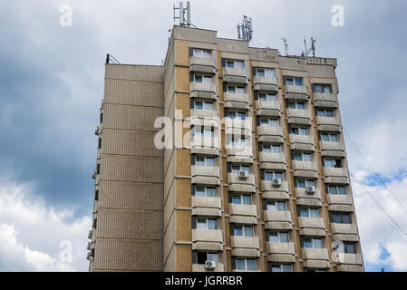 Typical apartment block from Ceausescu era in Alba Iulia city located on the Mures River in Alba County, Transylvania, - Stock Photo