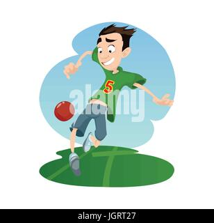 Digital vector funny comic cartoon happy kid boy enjoying playing soccer football with a red ball, dressed in green - Stock Photo