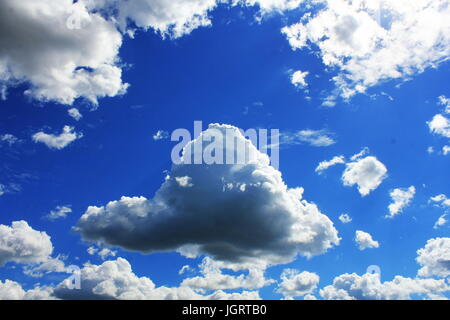 White clouds in blue sky. Blue sky background - Stock Photo
