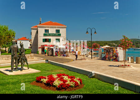 Causeway area at Primosten on the Adriatic coast of Croatia. - Stock Photo