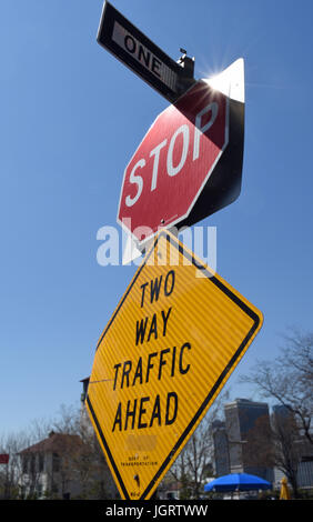 Confusing Road Signs In New York City Stock Photo