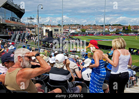 The crowd at Women's International Cricket at Bristol, Gloucestershire, England UK - Stock Photo