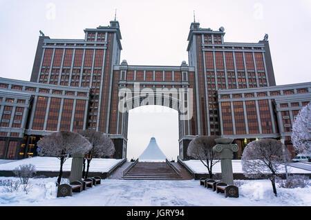 Modern architecture of Kazakhstan. Winter in new Astana, Kazakstan. 1 February 2017 - Stock Photo