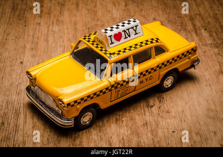 New York City Yellow Taxi Model Car, The old fashioned Checker Cab, Checker Cabs were the most popular in New York - Stock Photo