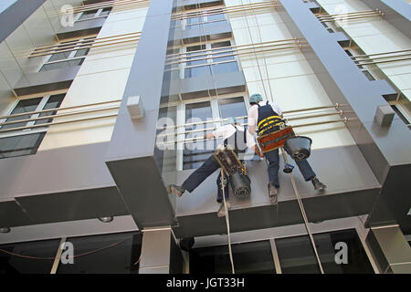Window and Facade Cleaning. Glass Cleaning Services. - Stock Photo