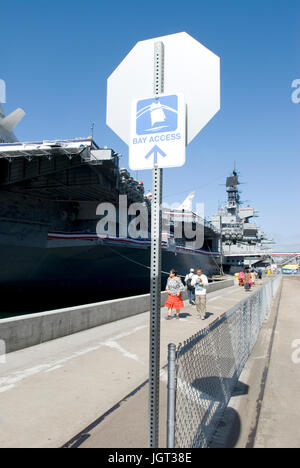 WW II aircraft carrier USS Midway Museum at San Diego, California, USA. - Stock Photo