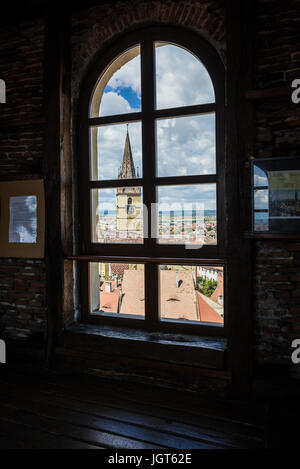 Cathedral of Saint Mary seen from a window of Council Tower in Historic Center of Sibiu city of Transylvania region, - Stock Photo