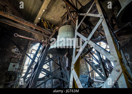 Inside the bell tower of gothic style Lutheran Cathedral of Saint Mary in Historic Center of Sibiu city of Transylvania - Stock Photo