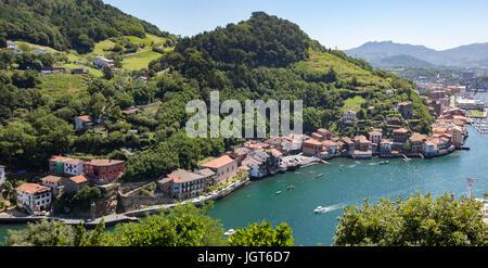 A view on Pasajes (Pasaia) from the mirador of  Pasaia San Pedro (Guipuzkoa - Spain). The best low-angle shot on - Stock Photo