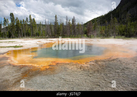 Emerald Pool in Black Sand Basin, Upper Geyser Basin, Yellowstone National Park - Stock Photo