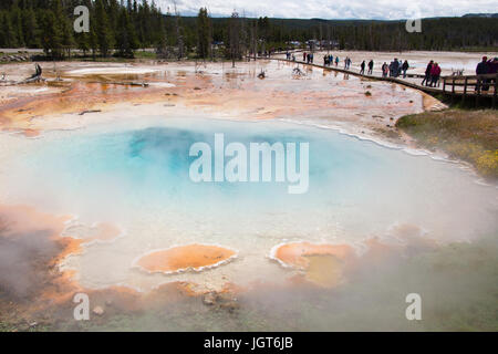 People are walking on the boardwalk of Fountain Paintpot Trail next to Silex Spring in the Lower Geyser Basin in - Stock Photo