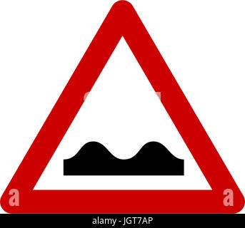 Warning sign with road bumps symbol - Stock Photo