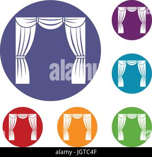 Curtain on stage icons set - Stock Photo