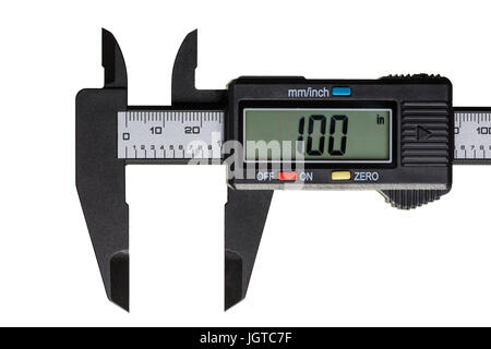 Electronic caliper open on a one inch on the scale isolated on a white background - Stock Photo