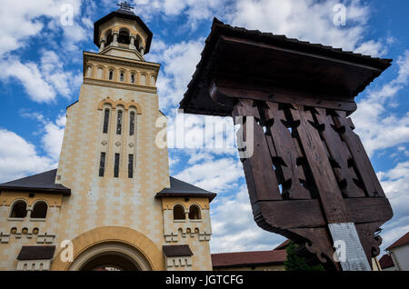 Bell tower of Romanian Orthodox Coronation Cathedral of Holy Trinity and Archangels Michael and Gabriel in Alba - Stock Photo