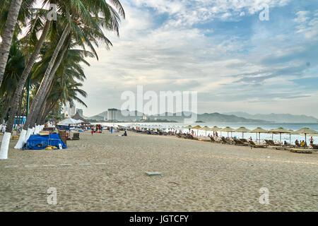 Nha Trang City Beach near sunset, Vietnam. - Stock Photo