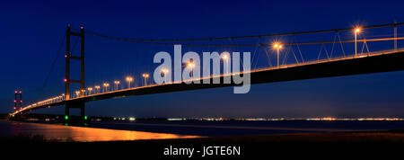 Humber Bridge at night, from Barton-upon-Humber village side, East Riding of Yorkshire, England - Stock Photo