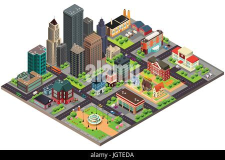 A vector illustration of Isometric Design of City Streets and Buildings - Stock Photo