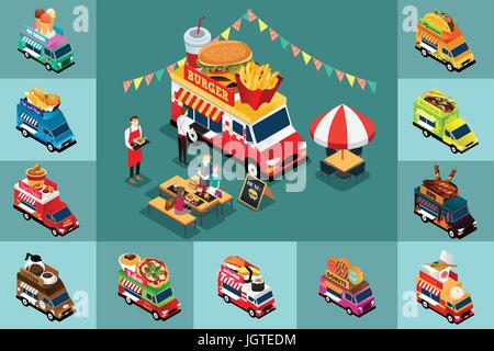 A vector illustration of Isometric Design of Different Food Trucks - Stock Photo
