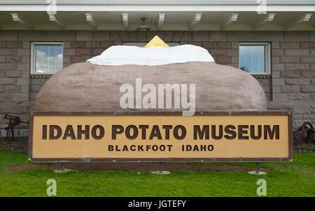 BLACKFOOT, IDAHO, JUNE 28, 2017: Giant Baked Potato at the Idaho Potato Museum. The museum showcasing the history - Stock Photo