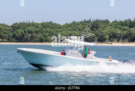 motor boats off Shelter Island NY - Stock Photo